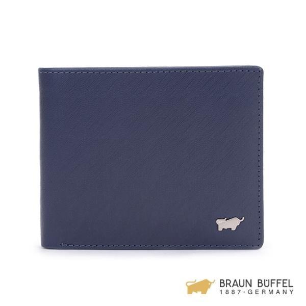 【南紡購物中心】【BRAUN BUFFEL】HOMME-M系列4卡零錢皮夾 -深藍 BF306-315-MAR