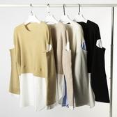 羊毛衫-圓領撞色寬鬆假兩件針織女毛衣4色73yv5【時尚巴黎】