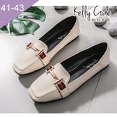 大尺碼女鞋-凱莉密碼-潮流時尚歐美風尖頭平底鞋1cm(41-43)【BP766-13】杏色