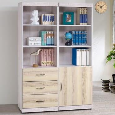 【Homelike】 糖薇4尺書櫃-白栓木紋雙色