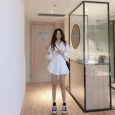 撲啦啦韓風寬鬆中長款長袖襯衫闊腿短褲白色兩件套法國小眾套裝女  ifashion部落