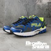 FILA 藍灰 螢光黃 網布 休閒鞋 慢跑鞋 男 (布魯克林) 1J307Q439
