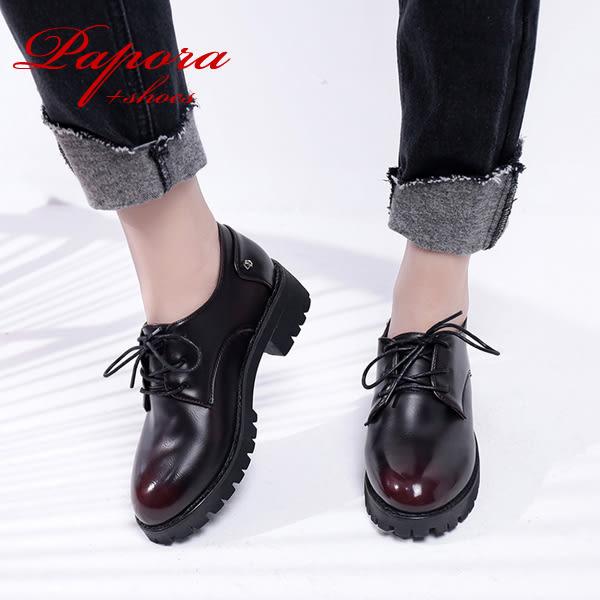 跟鞋.英倫風圓頭跟鞋學生鞋包鞋【K1990】(黑色/紅色)