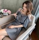 洋裝 韓版高腰系帶蕾絲邊短袖洋裝2019夏新款名媛氣質性感露背吊帶裙 韓語空間