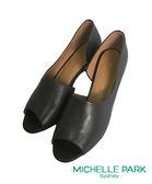 MICHELLE PARK 優雅風尚.魚口簍空美型跟鞋 *灰色