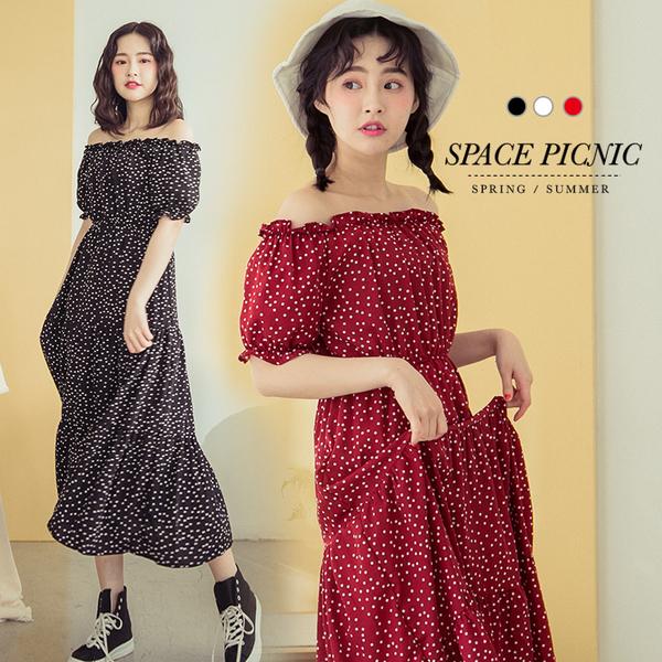 短袖 洋裝 Space Picnic|一字領滿版點點圖印長版洋裝(現+預)【C19033016】