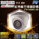 高雄/台南/屏東監視器 TW56D0T-IR 1080P 海康威視 TVI HD紅外線半球攝影機