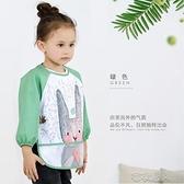 寶寶罩衣兒童吃飯圍兜嬰兒飯兜防水防臟長袖反穿衣圍裙畫 【快速出貨】