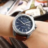 TIMEX 天美時 / TXTW2U15000 / 經典系列 八角型 星期日期 礦石強化玻璃 真皮手錶 藍x銀框x咖啡 46mm