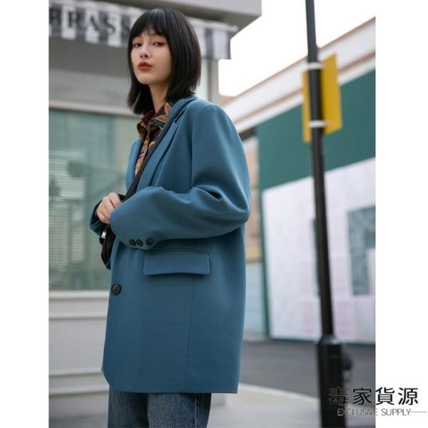 西裝外套女薄款藍色排扣休閒氣質西服上衣【毒家貨源】