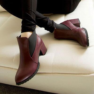 短靴 時尚大粗跟牛津皮革短靴【S060】☆雙兒網☆