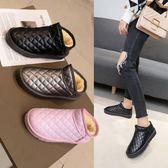 雪靴  格紋皮面平底短筒短靴加絨加厚保暖棉鞋學生女靴