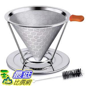 [106東京直購] E - Prance 不銹鋼咖啡濾杯 蜂窩狀雙層網狀 免濾紙 4杯用改良版 B073RXB8VH