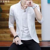 夏季韓版修身新款棉麻短袖小西裝男士七分袖休閒西服半袖外套 QQ1236『樂愛居家館』