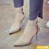 新款韓版包頭黑色性感細跟高跟鞋