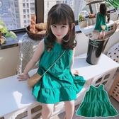 女童洋裝 夏季 兒童寬鬆無袖寶寶背心裙 女童氣質純色系扣連身裙 Ballet朵朵