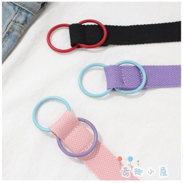 帆布腰帶女親子可愛撞色兒童學生雙環扣編織皮帶【奇趣小屋】