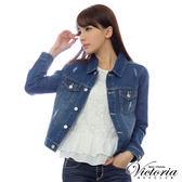 Victoria 牛仔外套-女-中藍