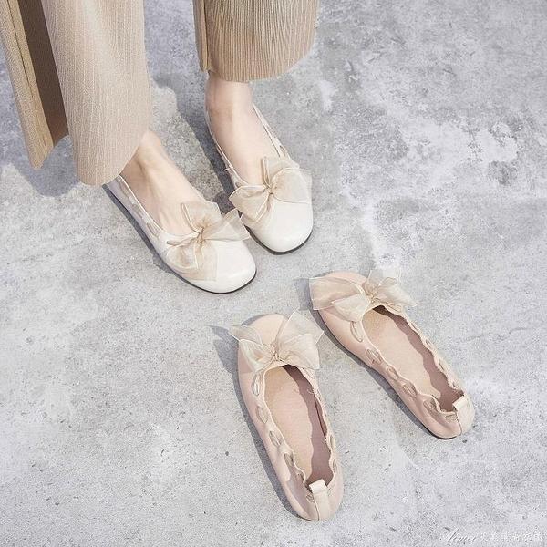單鞋女2021春款淺口平底百搭仙女夏季流行絲帶溫柔風晚晚豆豆潮鞋 快速出貨