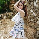 【預購】韓國繞脖美背遮肚顯瘦連身泳衣 泳裝 2色 A48339