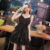 性感洋裝 細肩帶連身裙 夏季女裝甜美星星網紗木耳吊帶V領高腰層層蛋糕潮 新主流