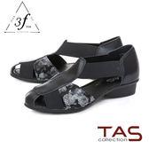 TAS 質感造型燙金拼接牛皮涼鞋-人氣黑