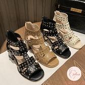 涼鞋女夏顯瘦外穿新款夏季百搭粗跟氣質高跟涼鞋【大碼百分百】