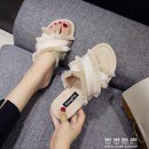 拖鞋女夏時尚外穿ulzzang拖鞋女平底鞋社會chic涼拖 可可鞋櫃