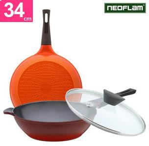 韓國NEOFLAM Eela陶瓷不沾鍋炒鍋附鍋蓋34公分231517熱門通販屋