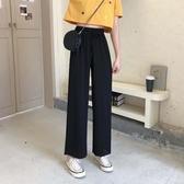 2020夏季新款韓版高腰顯瘦黑色百搭寬管褲垂墜感寬鬆九分休閒褲女 滿天星