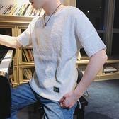 夏季男士半截袖白色短袖t恤寬鬆正韓潮流洋裝體恤學生文藝青少年【中秋節85折】