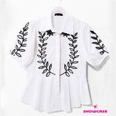 【SHOWCASE】民俗風繡花簍空寬袖襯衫(白)