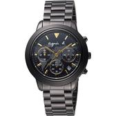 agnes b. 環遊世界地圖計時腕錶-黑x金時標/39mm VD53-KQ00F(BT3020X1)