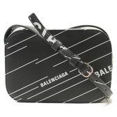 BALENCIAGA 巴黎世家 黑色小牛皮白色logo壓印肩背包 相機包 CAMERA XS 552372