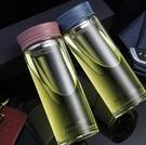 雙層玻璃杯 雙層玻璃杯男女士商務單層便攜濾網辦公車載帶蓋防漏茶水杯子【快速出貨八折鉅惠】