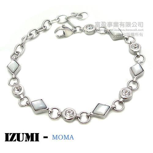 MOMA-【IZUMI】系列白鋼鍺磁手鍊-IS-007S(貝殻)