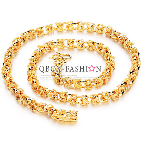 《 QBOX 》FASHION 飾品【W2016N445】 精緻個性雙龍頭環扣鍍18K金項鍊子/鍊條