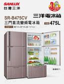 送真空保溫壺【台灣三洋 SANLUX】475公升三門變頻冰箱/香檳紫(SR-B475CV)
