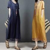 大碼洋裝 夏裝新款棉麻洋裝女寬鬆時尚大碼拼接顯瘦短袖正韓亞麻中長裙子 聖誕節交換禮物