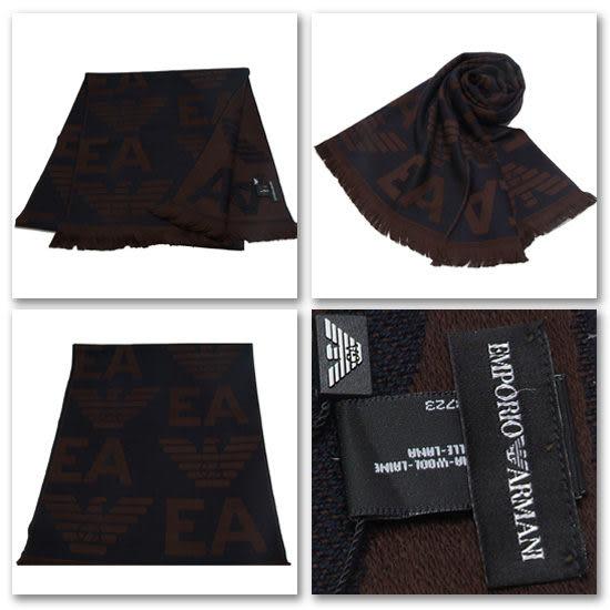 EMPORIO ARMANI 100%羔羊毛大字母LOGO雙面雙色圍巾(深藍與棕色)084065-1