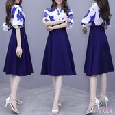 中大碼兩件式洋裝 2019胖MM中大尺碼兩件式洋裝中長款修身短袖印花A字連身裙