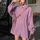 襯衫-休閒立領排釦單口袋格紋寬鬆百搭長袖...
