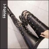鉚釘裝飾膝蓋拼接蕾絲加絨緊身皮褲 窄管長褲★ifairies【84144】