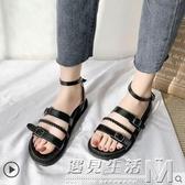涼鞋女新款夏季網紅仙女風學生黑色ins潮平底泰國鞋羅馬涼鞋 遇见生活