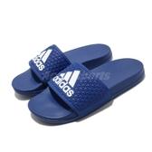 adidas 涼拖鞋 Adilette Comfort K 藍 白 童鞋 中童鞋 涼鞋 運動拖鞋 【PUMP306】 EG1870
