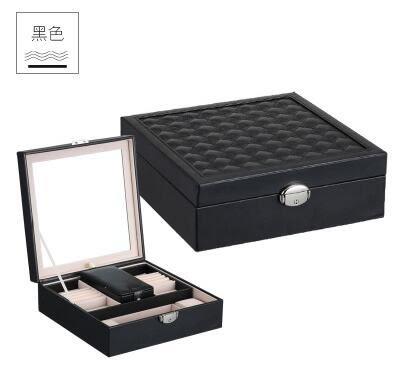 首飾盒木質公主歐式韓國雙層帶鎖飾品盒首飾盒【黑色】