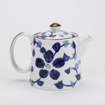 日式瀨戶燒藍藤花一壺五杯茶具組