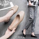 單鞋女2020春季新款韓版淺口百搭秋款方頭平底奶奶鞋豆豆鞋潮鞋 提拉米蘇