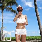 蕾絲荷葉邊鋼托比基尼泳衣/泳裝 白/黑 (M/L/XL)
