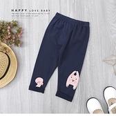 寶寶 條紋兔兔緞帶蝴蝶結素面內搭褲 反摺 打底褲 深藍 彈性 寶寶裝 寶寶長褲 秋冬長褲